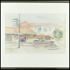 "PLAZA COFFEE SHOP -- Artist: Kathleen Connors Size: 10"" x 7"" Medium: Watercolor Price: $185.00"