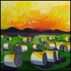 Hidden Words, (Sunset on Hay Bales)