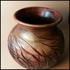 Raku Shiny Copper Cut Grass Pattern