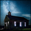 "LOWER FOX CREEK SCHOOLHOUSE AND MILKYWAY -- Artist: Eric Dyck Size: 25"" x 17"" Price: SOLD"